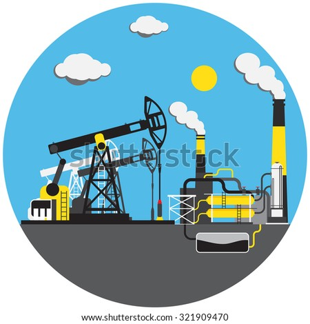 Colorful factory with oil derrick picture in round