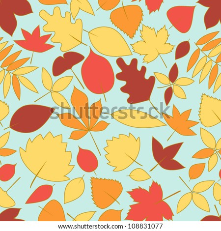 Colorful falling autumn leaves seamless pattern, vector