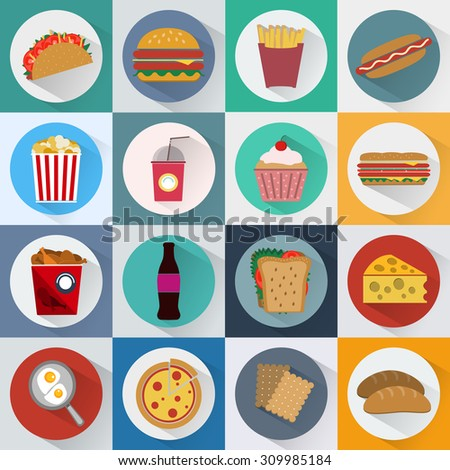 Colorful Fast Food and Snacks Icons Set. French Fries, Hamburger, Soda Drinks, Hot Dog and Crackers. Daily Lunch Break Goodies. Digital vector flat illustration.