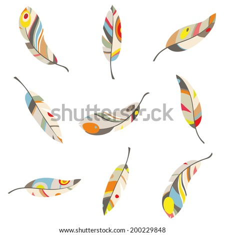 colorful feathers on a white background,  illustration. all objects are isolated. indian style. - stock vector