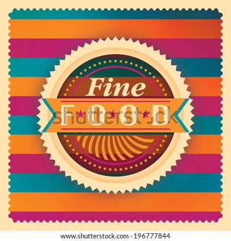 Colorful fine food sticker. Vector illustration. - stock vector
