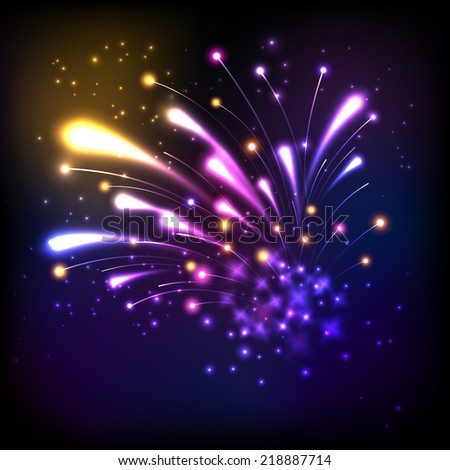 Colorful firework explosion on black background, vector eps10 - stock vector