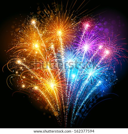 Colorful fireworks - stock vector