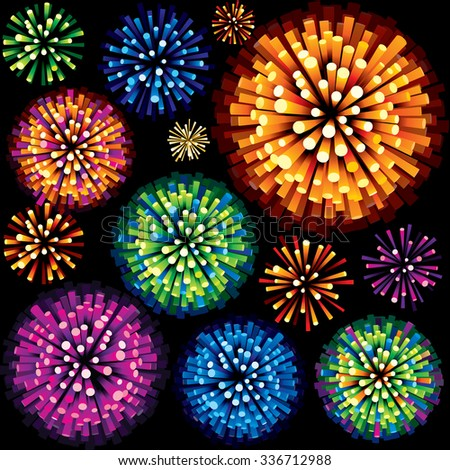 Colorful Fireworks and Explosions. 3D Isolated Design Element. - stock vector