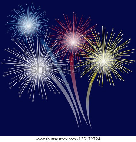 Colorful fireworks on blue background. - stock vector