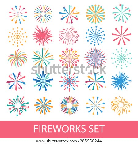 Colorful fireworks set isolated on white background, vector illustration. Holiday and party firework icons collection