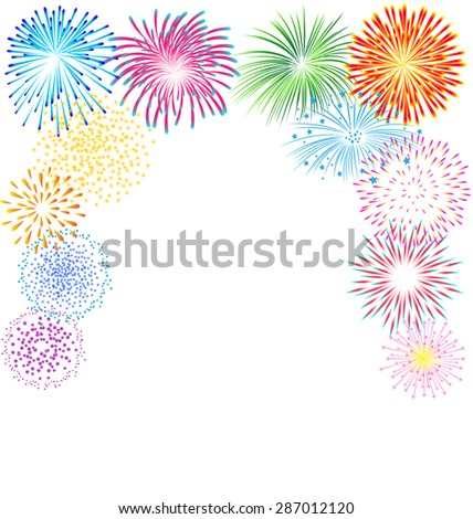 Colorful fireworks vector on white background for celebration - stock vector