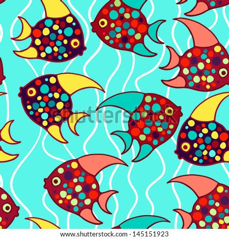 Colorful fishes vector seamless pattern.