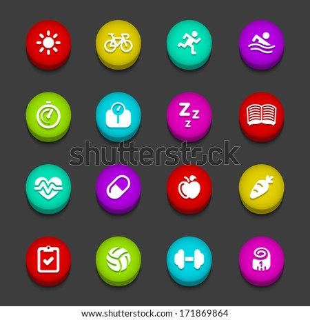 Colorful Fitness Buttons