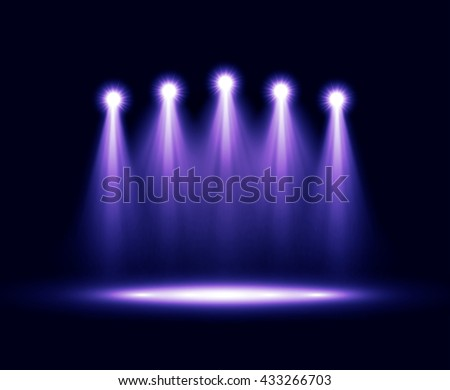 Colorful five realistic bright projectors for scene lighting isolated on black background. Vector special light effects