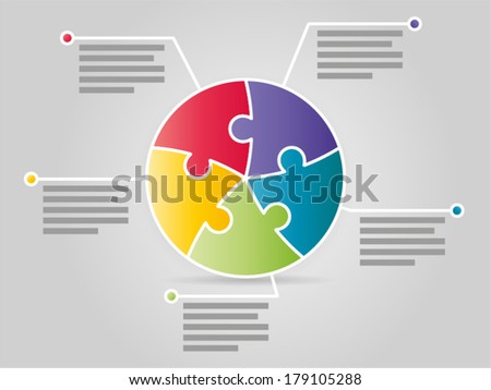 Colorful five sided puzzle presentation infographic template with explanatory text field - stock vector