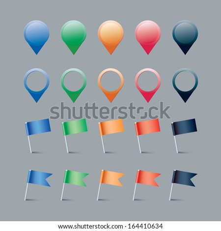 colorful flags and mapping pins on grey background - stock vector