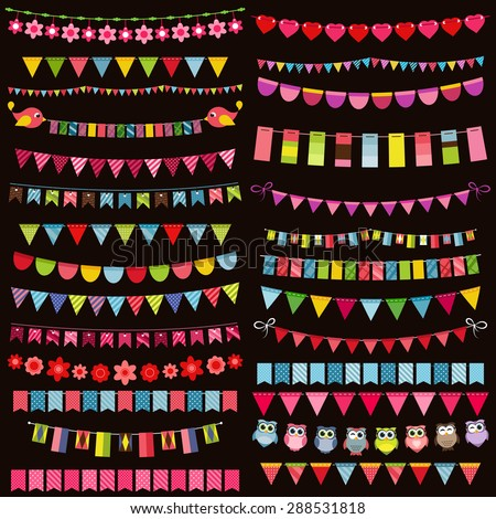 Colorful flags, bunting and garland set on dark background - stock vector