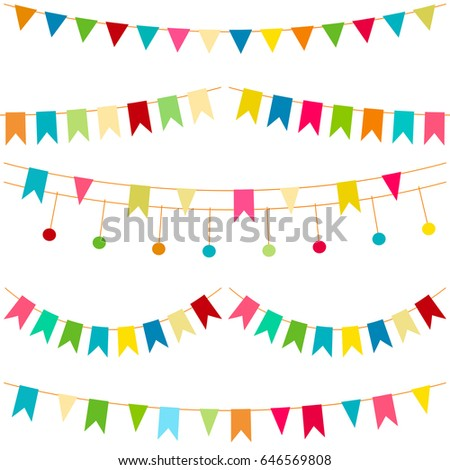 Colorful Flags Vector Carnaval Seamless Pattern Stock Vector