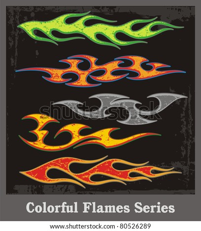 Colorful flames and vehicle graphics with grunge patterns. Great for stickers and decals.