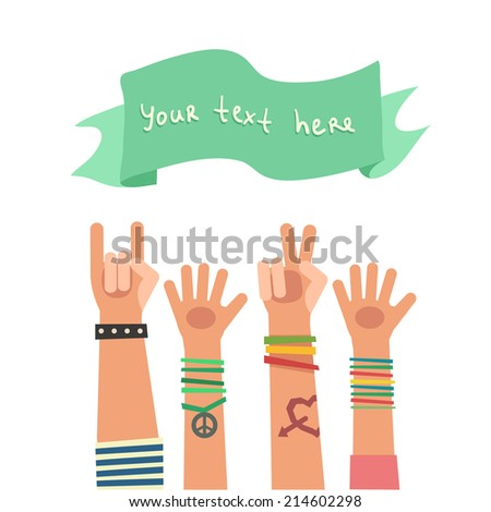 Colorful flat background with a lot of hands of young people and ribbon for a text. Vector Illustration - stock vector
