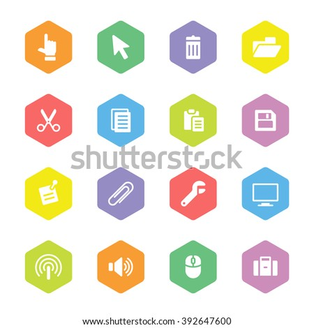 colorful flat computer and technology icon set on hexagon for web design, user interface (UI), infographic and mobile application (apps) - stock vector
