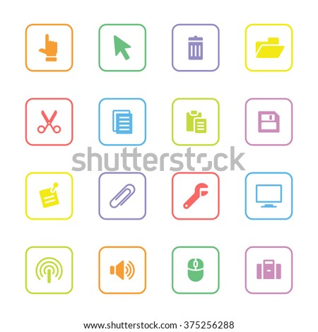 colorful flat computer and technology icon set 3 with rounded rectangle frame for web design, user interface (UI), infographic and mobile application (apps) - stock vector