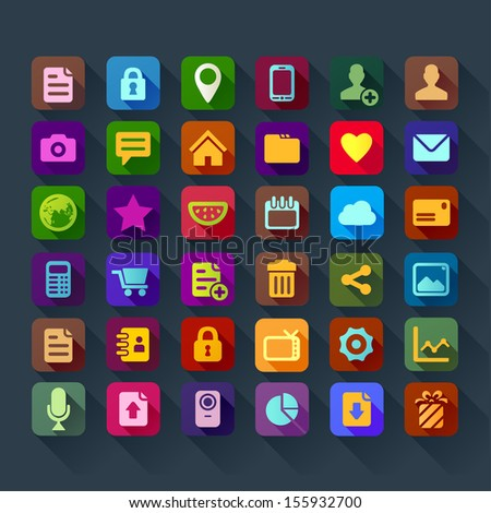 colorful flat design icons for smart phone web applications interface