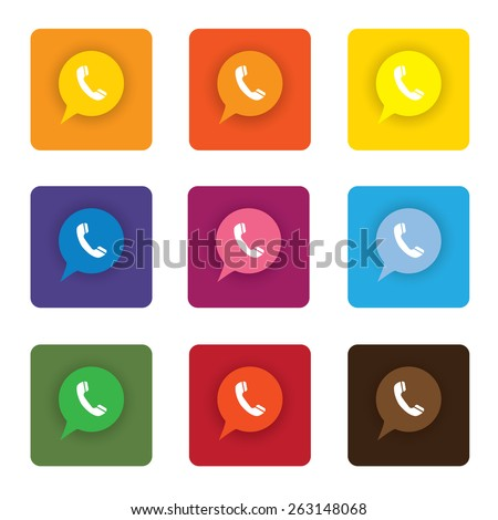 colorful flat design vector icons set of phone receiver for chat message interaction on internet, mobile phones, social media sites - social media graphic - stock vector