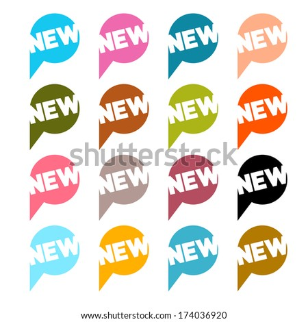 Colorful Flat Design Vector Stickers - Labels Set with New Title - stock vector