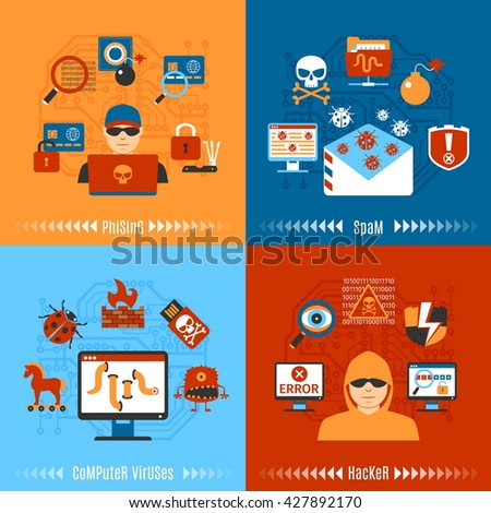Colorful Flat Hacker And Computer Viruses Concept Set. Vector illustration - stock vector