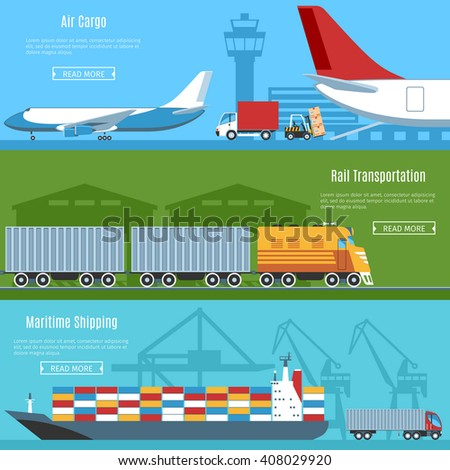 Colorful Flat Horizontal Banners Set For Logistic, Transportation And Delivery Projects. Air Cargo, Rail Transportation, Maritime Shipping. Vector Illustration - stock vector
