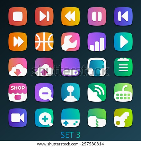colorful flat icons-set 3 - stock vector