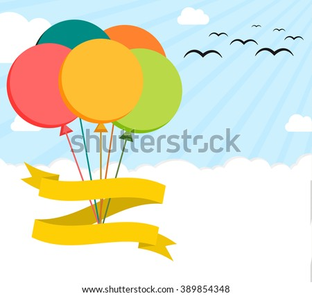 Colorful flat illustration poster with helium balloons on sky, blank ribbon and enough copyspace - stock vector