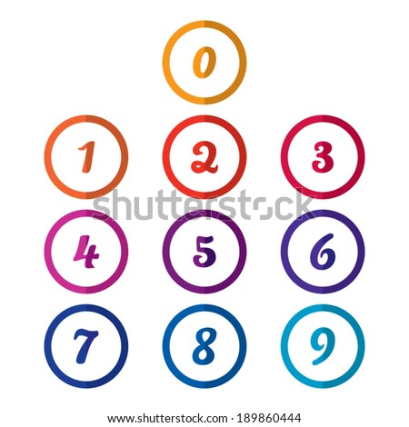 Colorful Flat Number Icons - stock vector