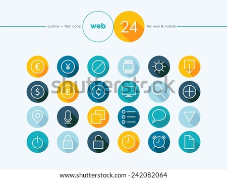 Colorful flat outline style icons set for Money converter website and mobile app. EPS10 vector file organized in layers for easy editing. - stock vector
