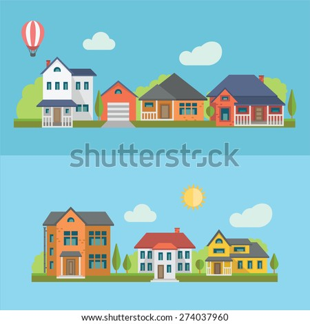 Colorful Flat Residential Houses, eps 10 no transparencies.  - stock vector