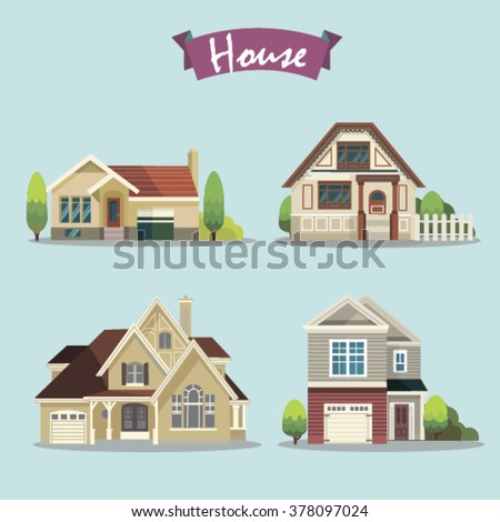 Colorful Flat Residential Houses. Vector illustration. Isolated objects - stock vector