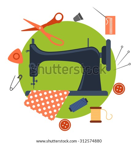 Colorful flat sewing icons surrounding a sewing machine with pin, thread, yarn, thimble, button and cloth - stock vector