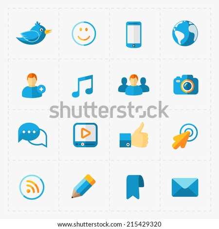 Colorful flat social icons set on White - stock vector
