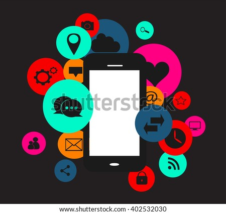 Colorful flat social media icons with smartphone - stock vector