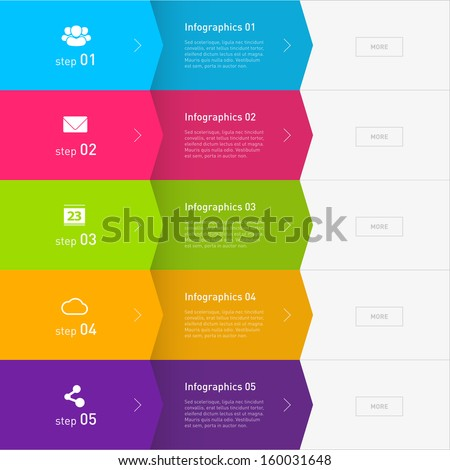 Colorful Flat Step by Step / EPS10 Vector Illustration / - stock vector