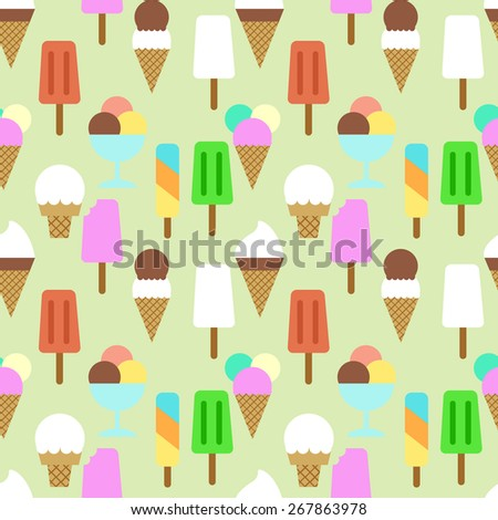 Colorful flat style ice cream seamless vector pattern. Flat style ice cream background - stock vector