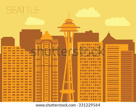 Colorful flat style panorama of the metropolis - Seattle - the appearance of the streets of the capitals of the world - stock vector
