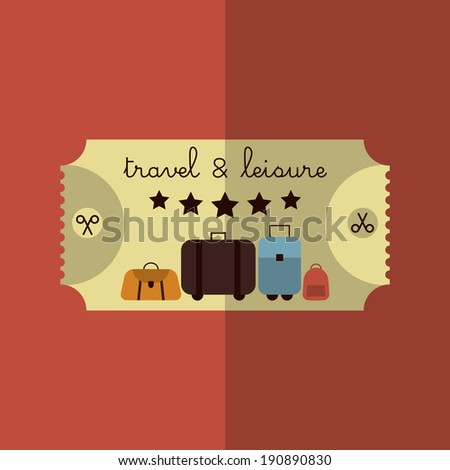 Colorful Flat Summer Holiday and Travel themed Ticket and Luggage Background Illustration - stock vector