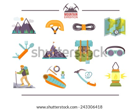 Colorful flat vector icons set . Quality design illustrations, elements and concept. Climbing icons. Set #1 - stock vector