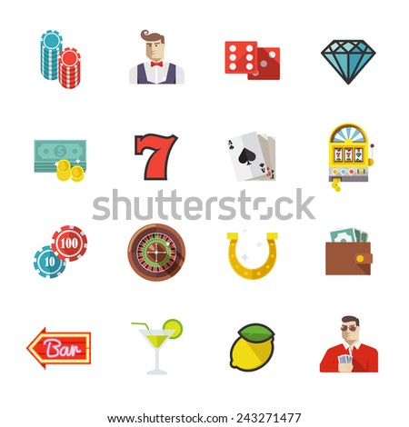 Colorful flat vector icons set. Quality design illustrations, elements and concept. Gambling icons, casino icons, money icons, poker icons. Set #1.