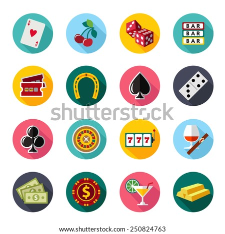 Colorful flat vector icons set. Quality design illustrations, elements and concept. Gambling icons, casino icons, money icons, poker icons. flat style