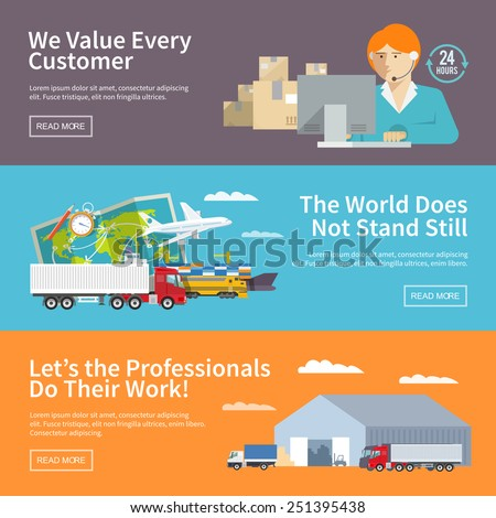 Colorful flat vector logistics banners set for your business, web sites, presentations, advertising etc. Quality design illustrations, elements and concept. Flat style. - stock vector