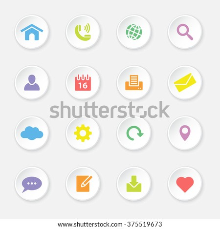 colorful flat web and technology icon set 1 on white circle button with soft shadow for web design, user interface (UI), infographic and mobile application (apps)