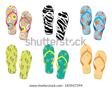 Colorful flip flops collection vector illustration.