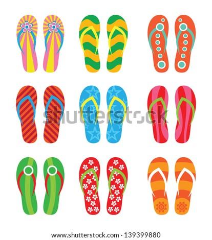 Colorful flip flops set. Illustration on white background. - stock vector