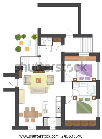 Colorful floor plan of a house. - stock vector