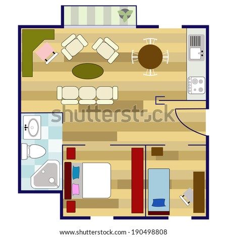 colorful floor plan with furniture - stock vector