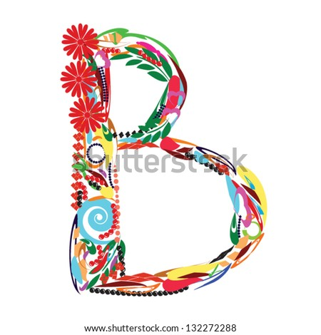 Colorful Floral Alphabet letter B - stock vector